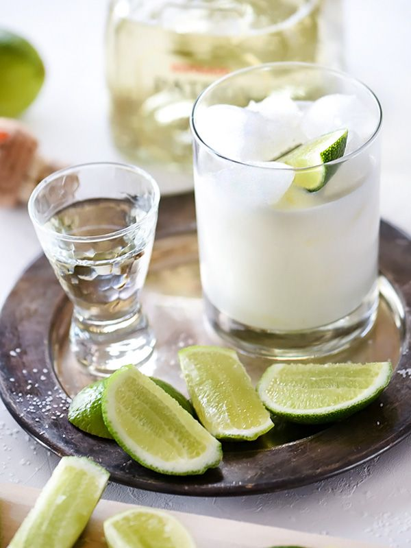 A combination of coconut cream and coconut milk infuse tropical flavors into my favorite reposado tequila margarita.
