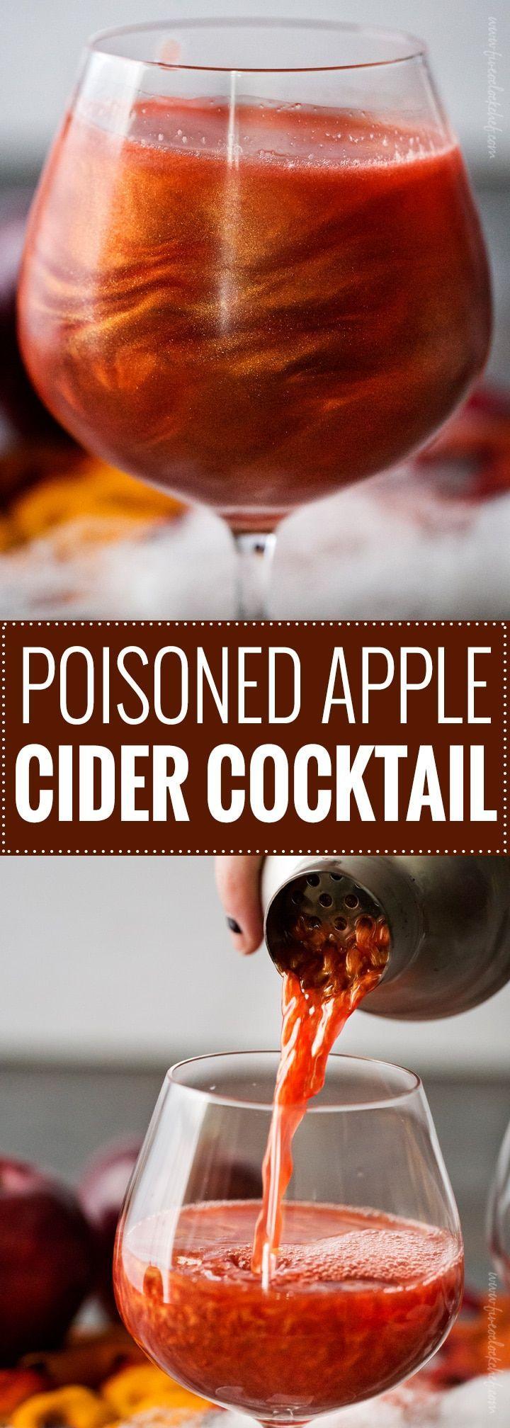 Poisoned Apple Cider Cocktail |  4 oz apple cider + 1 1/2 oz spiced rum + 1 1/2 oz pomegranate juice + 3/4 oz grenadine + scant 1/4 tsp edible luster dust