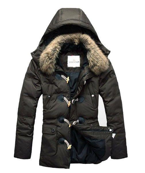 Warm Moncler Fur Long Down Coat Men Army [2899992] - £164.09 :