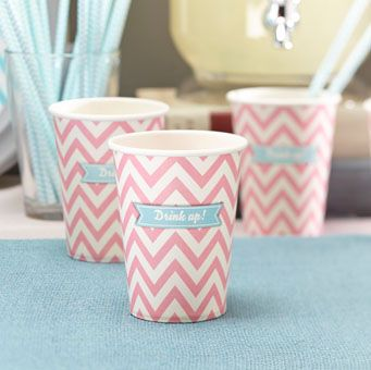These striking paper cups are perfect for your next party! In pink pastel chevron with the words 'Drink Up'. Pack of 8.
