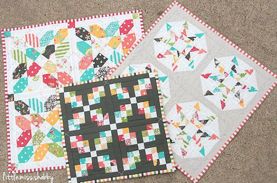 Sweetness (a trio of mini quilts) Pattern #105 PDF quilt pattern.  August Schnibbles quilt.  pick any of the 3 quilts.