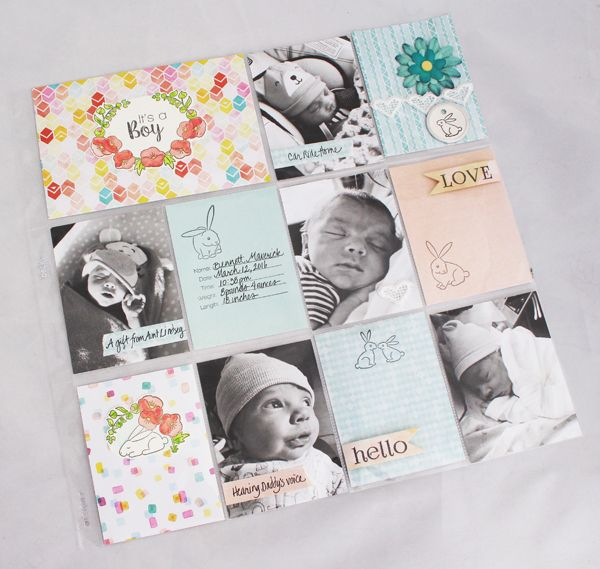 Love the black and white photos and soft pastels together- pocket page/ Project Life