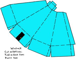 windmill foldable 11 300x233 step How to Make Paper Windmills with Paper Modelling Craft Instructions