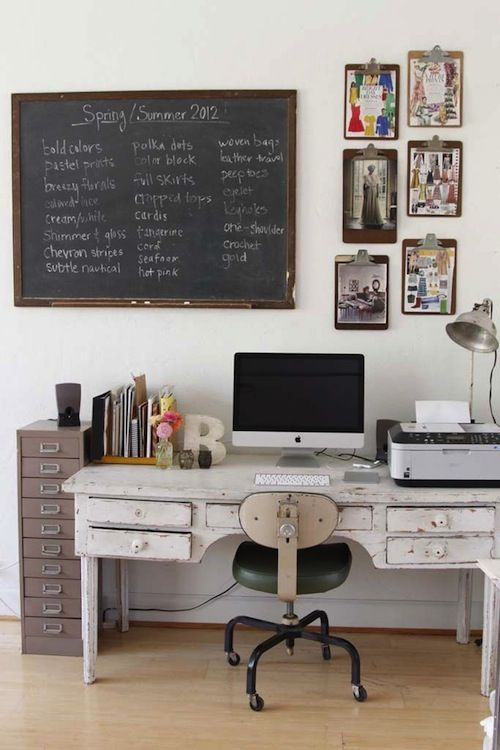 simple, effective uncluttered workspace with adequate storage as well
