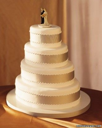 """See the """"Grosgrain Ribbon Wedding Cake"""" in our Traditional Wedding Cakes gallery maybe with navy ribbon"""