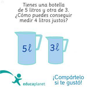 Acertijo, enigma jarras medir 4 litros #matemáticas #lógica #brainteaser