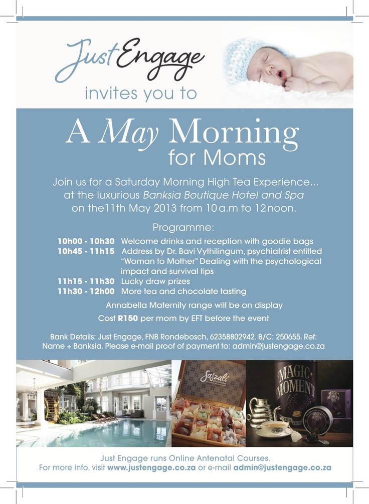 Flyer before our May Mom Event