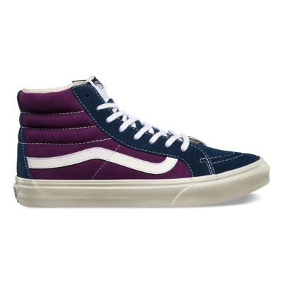 The Vintage Suede Sk8-Hi Slim, a slimmed down version of its original, is lace-up high top with a durable suede upper, a vintage inspired colorway, a supportive and padded ankle and Vans vulcanized signature Waffle Outsole.