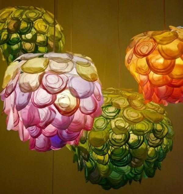 papierleuchten farbige pendelleuchten uniques design