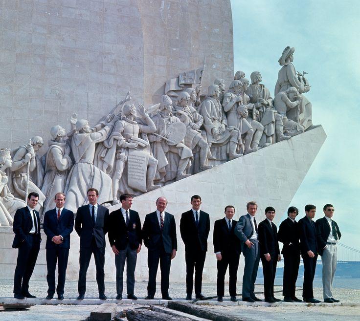 Manchester United in Lisbon, 1966:             John Connelly, Bobby Charlton, Harry Gregg, Pat Crerand, Matt Busby, David Herd, Nobby Stiles, Denis Law, Tony Dunne, George Best, Shay Brennan, Bill Foulkes.