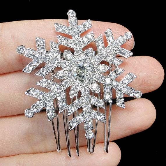 Swarovski Crystal Bridal Snowflake Flower Hair Comb Tiara, Wedding Hair Piece, Christmas Gift Bridesmaid Jewelry-118109890