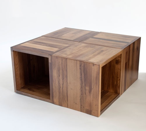 Cliff Spencer Wine Oak Modular Cube Use As Coffee Table Stools