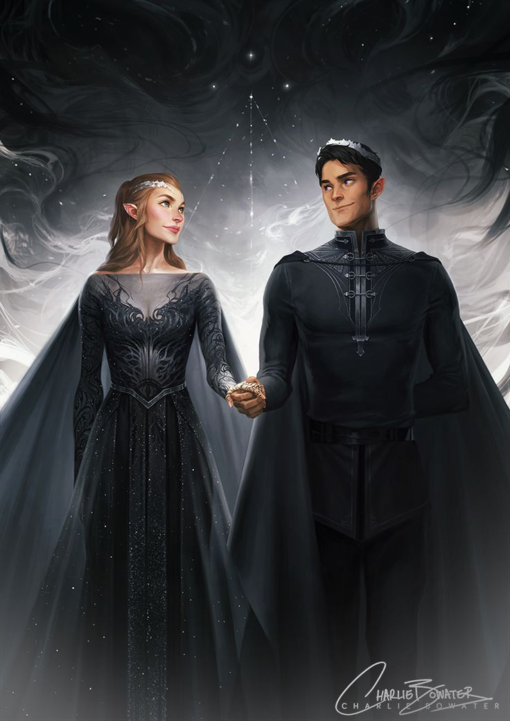 "charliebowater: ""MY BABIES ARE DONE. *dies* Rhys & Feyre, looking all High Lord & Ladylike. This was soooo much fun to work on and I've already ranted and raved about how much I love these two… and everyone else in ACOMAF… and Sarah… and Prints are..."
