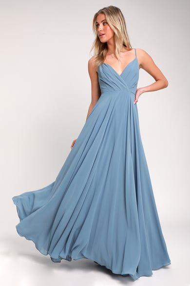 7654d3b57f2 Beautiful Slate Blue Dress - Maxi Dress -Backless Maxi Dress Backless Maxi  Dresses