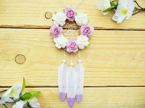 Purple Flower Dreamcatcher: Mother's Day Gift Boho Car