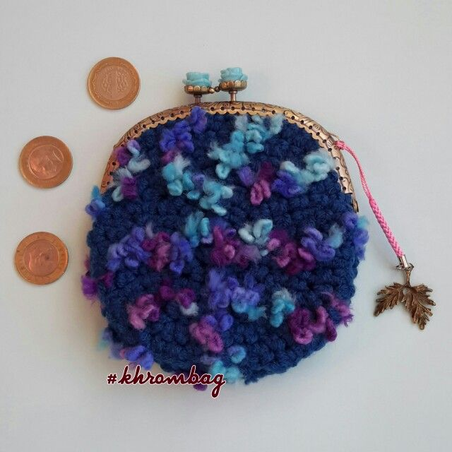 "#Crocheted purse #khrombag . #tığişi  çanta #khrombag ""forget-me-not"". 12.5 *12.5 cm"