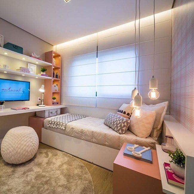 Shelves with lights underneath in small bedroom