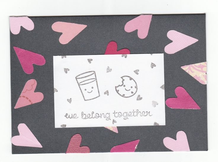 I love how the different shades of pink pop on the black background, and the stamps are adorable!