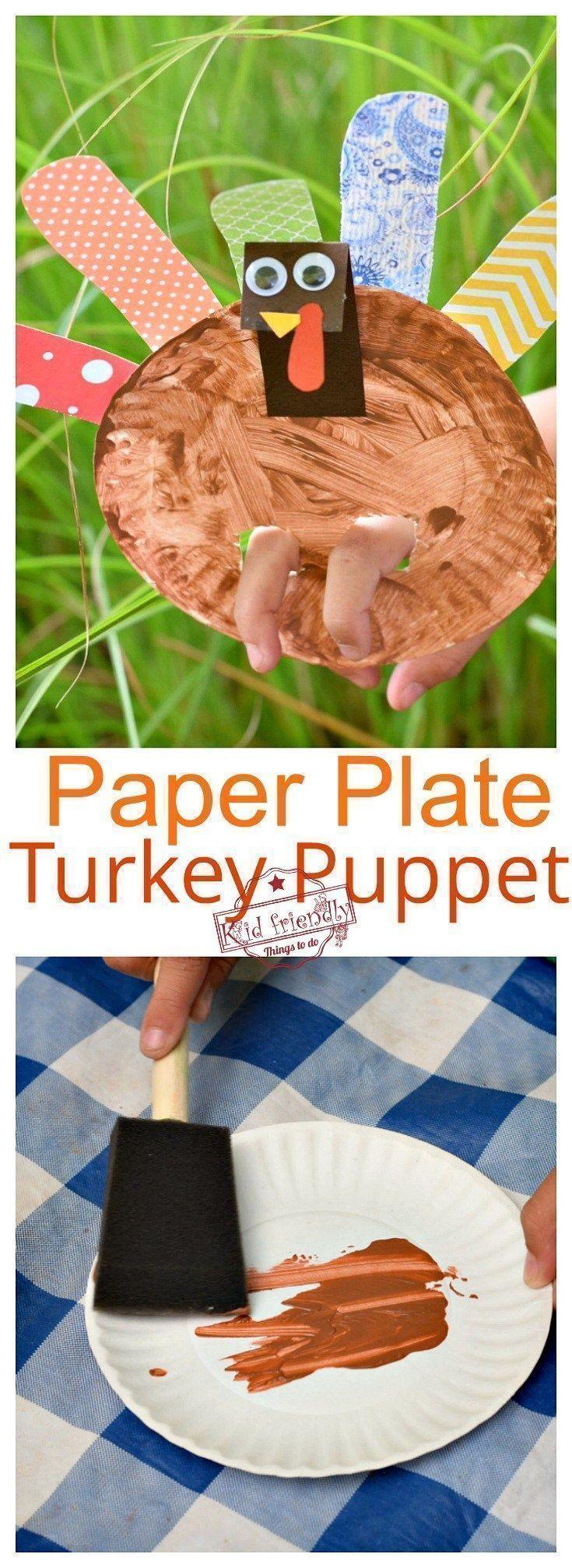 Stellen Sie eine Pappteller-Truthahnpuppe für ein Erntedankfest mit Kindern her