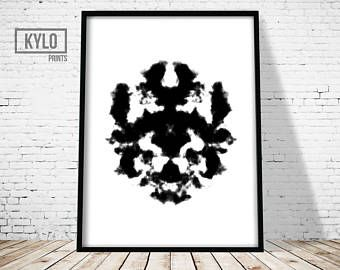 Rorschach imprimir cartel abstracto, Test de Rorschach, lámina de arte moderno, arte imprimible, decoración de oficina, casa pared arte, impresión del arte borra tinta Resumen