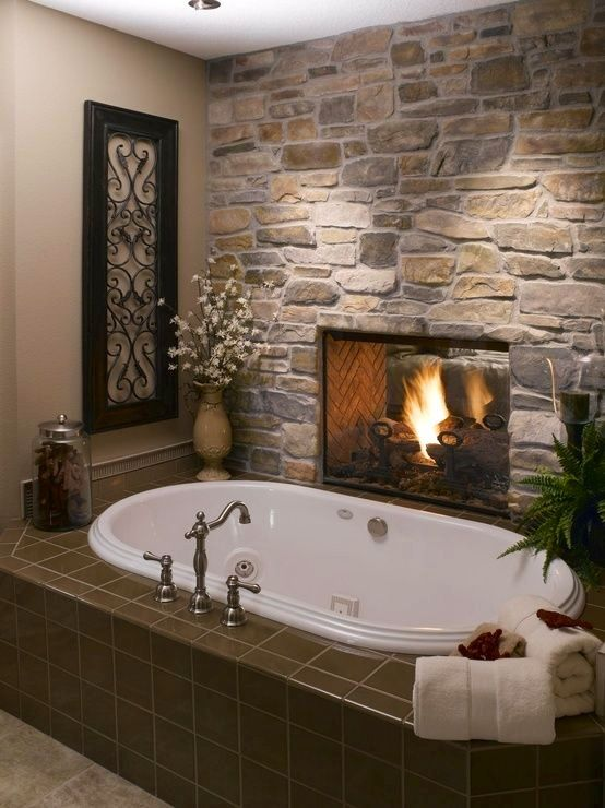 Fireplace Is between the Master bedroom and Bathroom