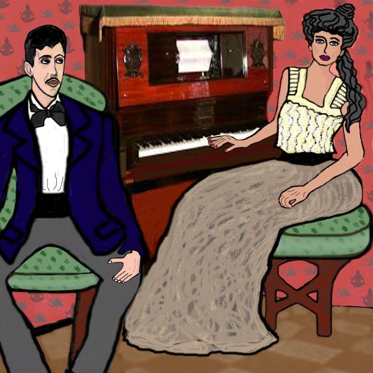 """Una scena di vita quotidiana  (dal volume La prigioniera di M.Proust), in cui il protagonista opprime la sua fidanzata con continui interrogatori da geloso.  """"Prima che ritorni a suonare la pianola, voglio chiederti una cosa: ricordi che questa musica era l'inno d'amore di Swann e Odette, i genitori di Gilberte? Una volta Gilberte mi disse che ti conosceva? Ti ha mai  fatto capire di essere attratta da te?"""""""