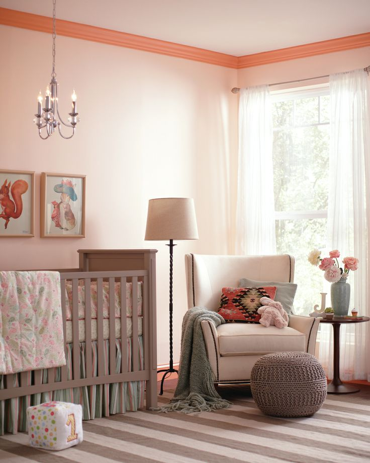 create contrast in your babys nursery with paint keep walls light with behrs beach trail while keeping moulding bright with gliddens ripe apri