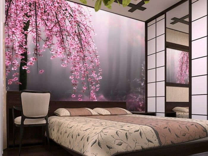 Bedroom with photo wallpapers
