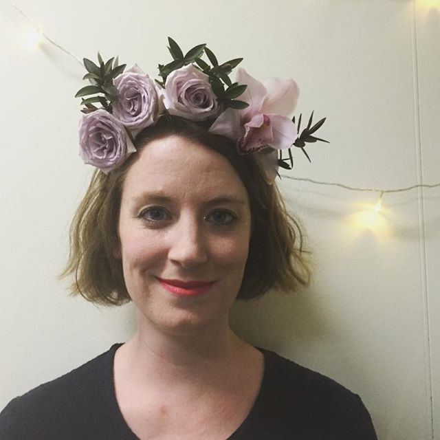 Flower crown made for big sisters bday karaoke party last night 😇 #melbourneflorist #flowercrown #florist #flowers #floralarrangement #floristry #crown #orchid #roses #mauve #party