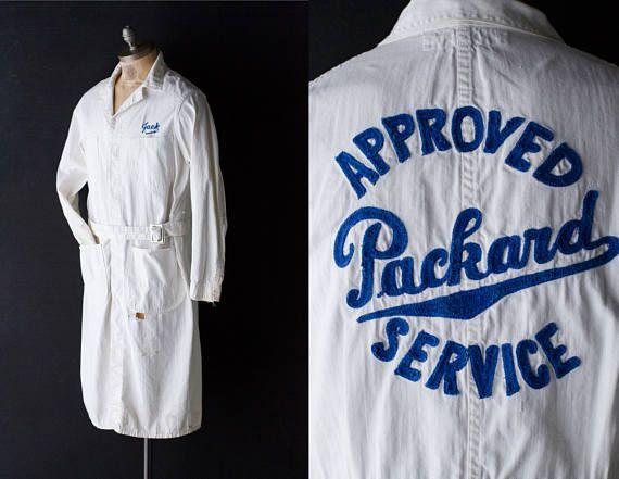 Zeldzame HBT Packard Mechanic Jacket - Mid Century kettingsteek geborduurd Herringbone Twill Service Shop jas - Unie maakte werkkleding - sz 42