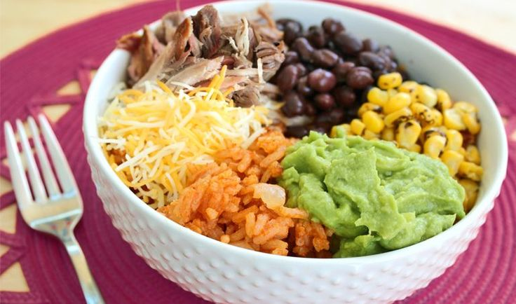 Fiesta Bowl w/ Mexican Rice All ingredients from Trader Joes so you know that they will be organic and clean from gross chemicals and such