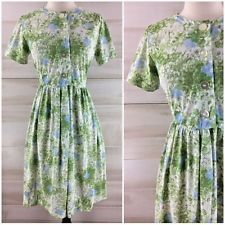 Vintage 50s green white blue floral shirt dress casual party full skirt M L