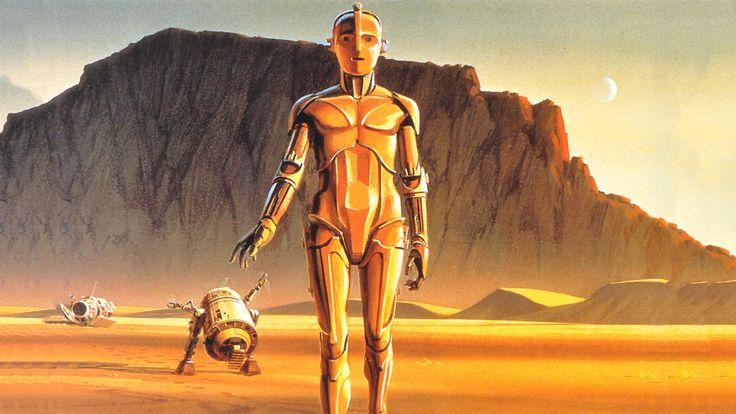 Le célèbre tableau de Ralph McQuarrie, le toute première image produite de Star Wars en préproduction.