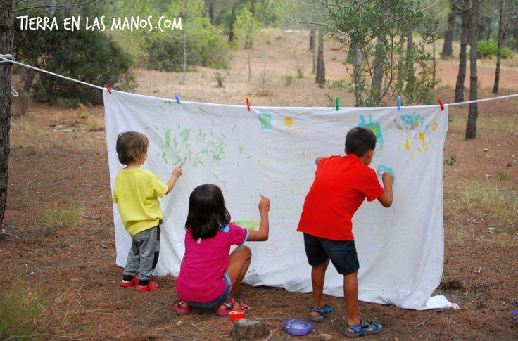 Cómo pintar una sábana al aire libre ;-)