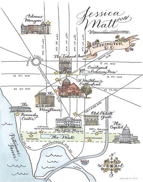 Custom Wedding Map Drawn Painted And Lettered By Hand Perfect For A