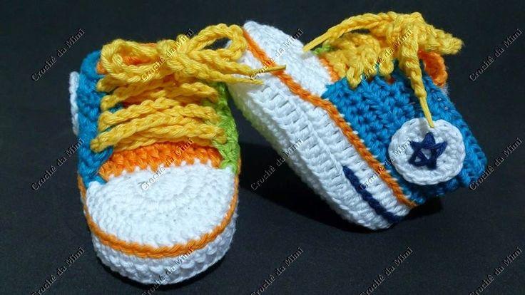 "Tênis de crochê colorido passo a passo. ~ ""Crochê da Mimi"""