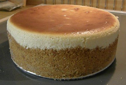 Plain Cheesecake.  This is the creamiest, smoothest cheesecake I've ever had.  It was also suprisingly light in texture.  So delicious and pleasant.  The only difference was mine did not brown at all like the picture.  No cracks appeared after it baked. Bringing the ingredients to room temp must be key. Will definitely make this again.  5 stars