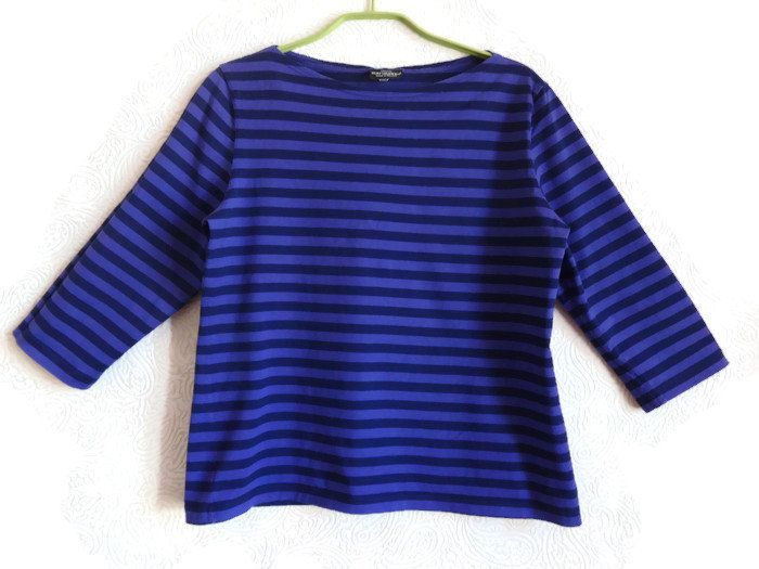 MARIMEKKO Violet & Dark Blue Striped Shirt 3/4 Sleeve Nautical Women's Top Marimekko Clothing M Size Finnish Cotton Top Comfortable Shirt by Vintageby2sisters on Etsy