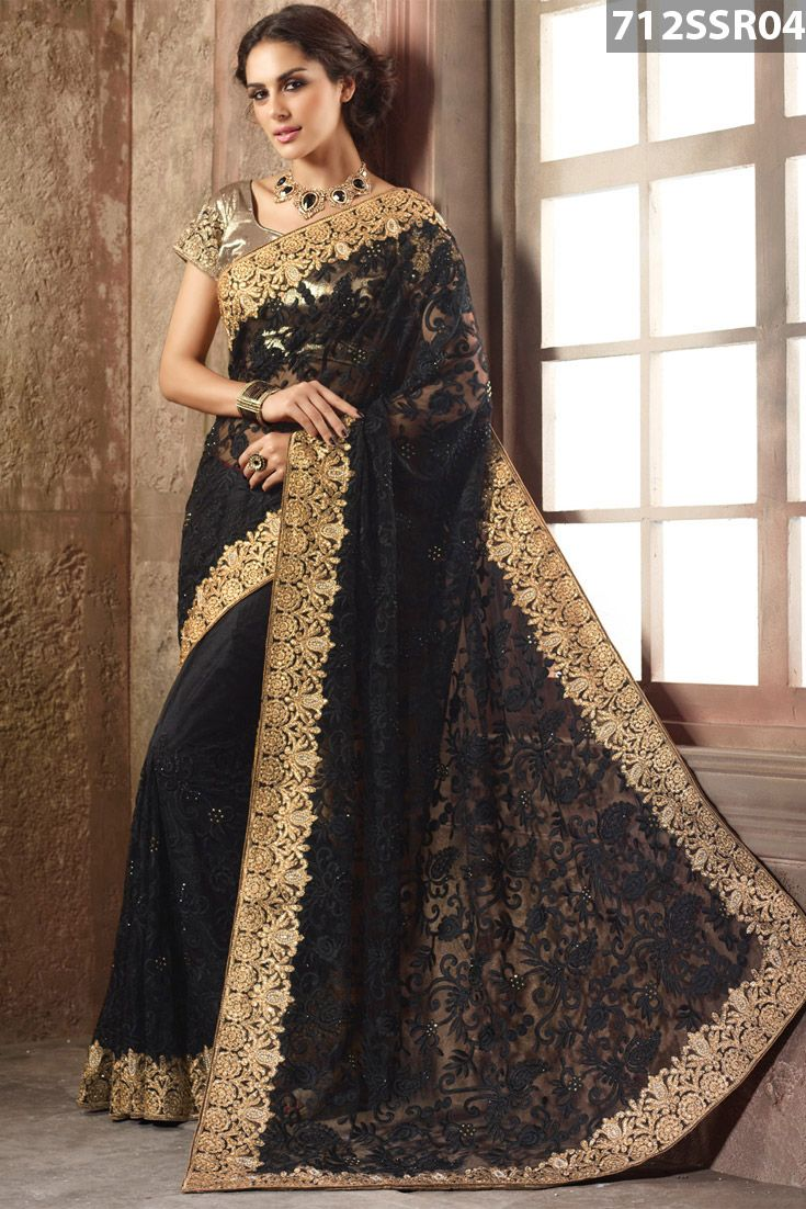 #Black #net #saree intricate with beads, stone, zari, #resham #embroidery and patch border work. Available with beige art silk blouse