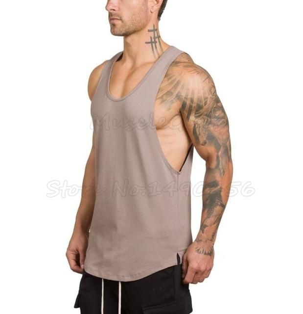 Muscleguys Brand clothing Men Bodybuilding and Fitness Stringer Tank Top male gyms Vest sportswear Undershirt workout Singlets