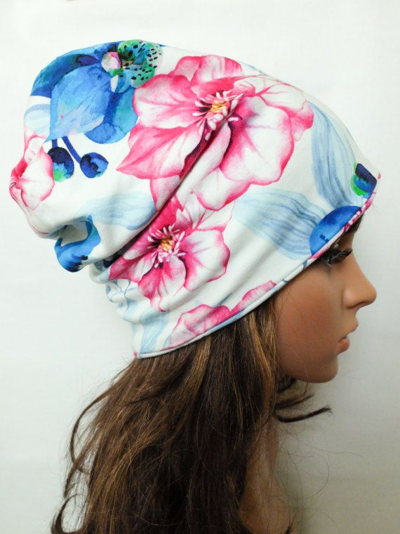 Floral beanie women boho loose hat girl cotton slouchy hat