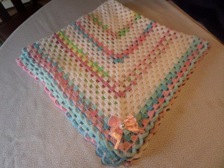 baby blanket, hand crochet wrap, afghan stitch, white and pastels, 34 inches square, white and pink bows, pastel edging, scalloped edging by MaddisonsRainbow on Etsy