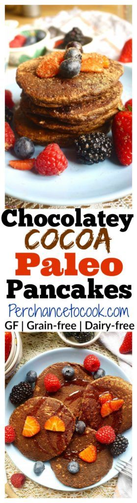 Treat your taste buds and your body to these Chocolatey Cocoa Paleo Pancakes (GF) | Perchance to Cook, www.perchancetocook.com