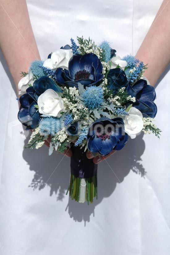 Real Touch Blue Anemone Thistle Rose Small Wedding Bouquet