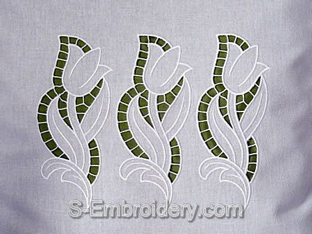 S-Embroidery cutwork tulip