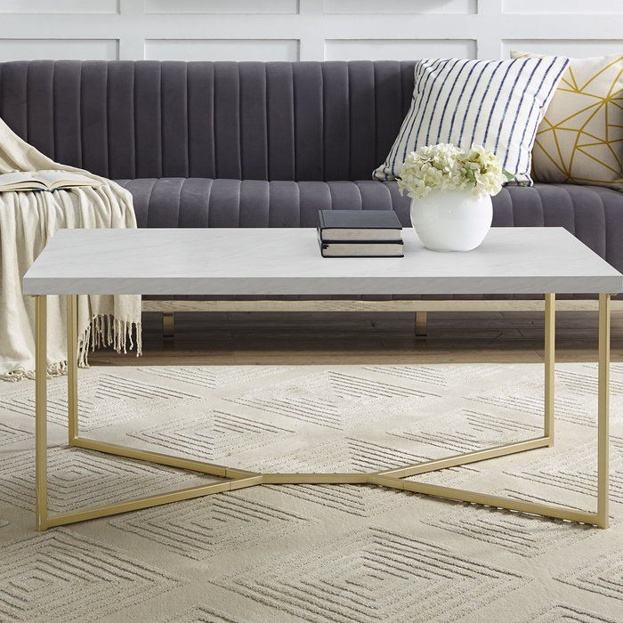 Seguin Y Leg Coffee Table Coffee Table Coffee Table Rectangle Gold Living Room
