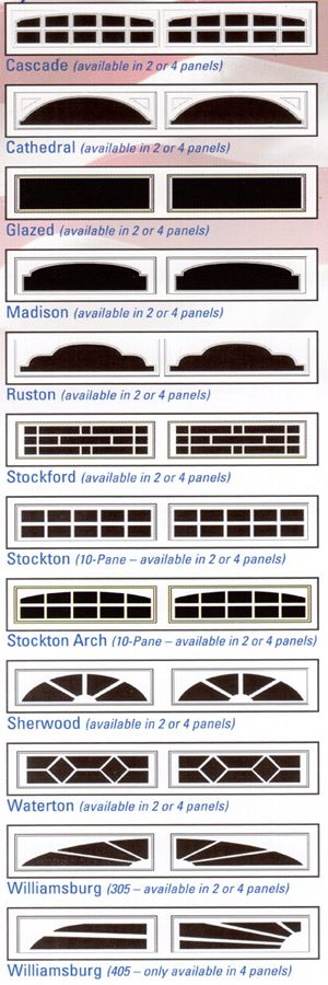 Chart showing the garage door window inserts selections for XL series steel garage doors