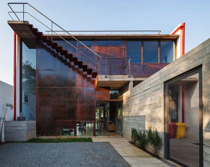 Corten Steel Exterior, Stairs, Concrete Wall, Trendy Urban House In São  Paulo,