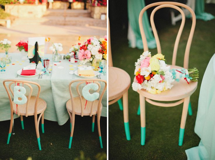 Paint-dipped chair legs.