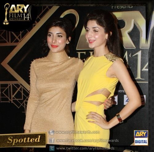 Beautiful Mawra Hussain and Urwa Hussain spotted At ARY Awards Show 2014 #AFA14